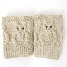 Knit Boot Cuffs Cream OWL Boot Socks Boot Topper Leg