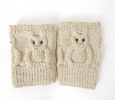 Knit Boot Cuffs Cream OWL Boot Socks Boot Topper Leg