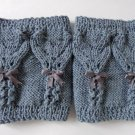Knit Boot Cuffs Grey Hearts With Lace Bow Boot Socks Boot Topper Leg