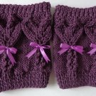 Knit Boot Cuffs Purple Hearts With Lace Bow Boot Socks Boot Topper Leg