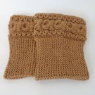 Knit Boot Cuffs Light Brown Boot Socks Boot Topper Leg