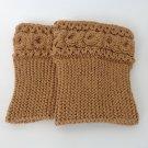Knit Boot Cuffs Light Brown Boot Socks Boot Topper Leg