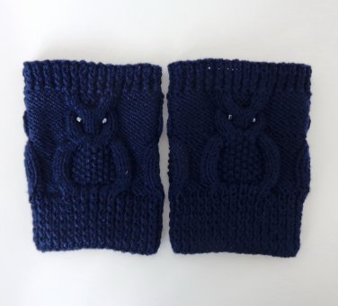 Knit Boot Cuffs Navy Blue OWL Boot Socks Boot Topper Leg