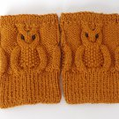Knit Boot Cuffs Brown OWL Boot Socks Boot Topper Leg