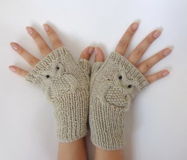 Owl Fingerless Gloves -Knitted Mittens Or Mitts In Cream