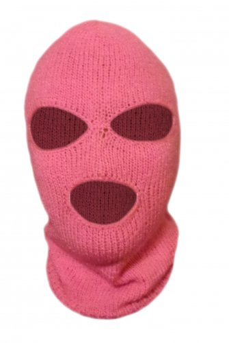 Knit Pink Ski Mask For Woman Handmade 3 Hole