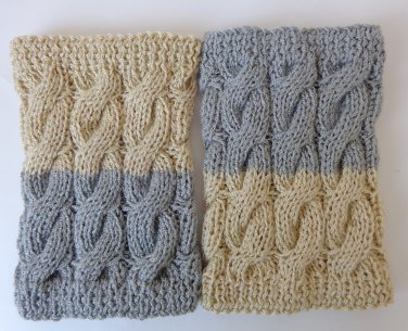 Knitted Boot Cuffs 2 in 1 Boot Socks Boot Topper Leg Grey And Cream