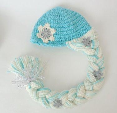 Elsa Frozen Crochet Hat With Snowflake Flower - Disney Princess Queen Hat Wig - 3-10 years