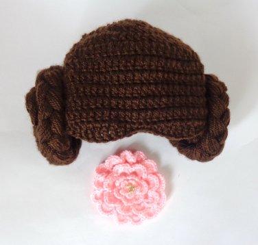 Princess Leia Crocheted Baby Hat From Star Wars- Princess Queen Hat Crochet Wig - Newborn -3 months