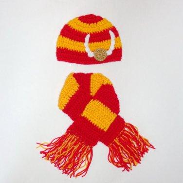 Harry Potter Hat with Scarf Gryffindor, Beanie Newborn -3 month