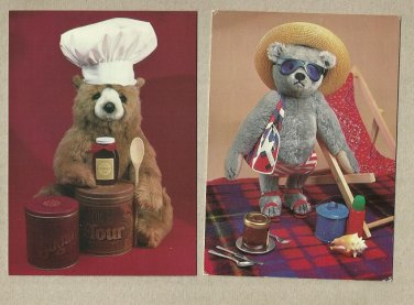 TEDDY BEAR VINTAGE POSTCARDS CHEF TEDDY AND BEACH TEDDY