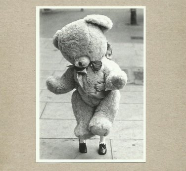BEAR WITH ME POSTCARD SHOWING SMALL CHILD AND LARGE TEDDY BEAR