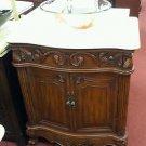 """30"""" vessel sink cream marble bathroom teak stain vanity marble vessel w/faucet"""
