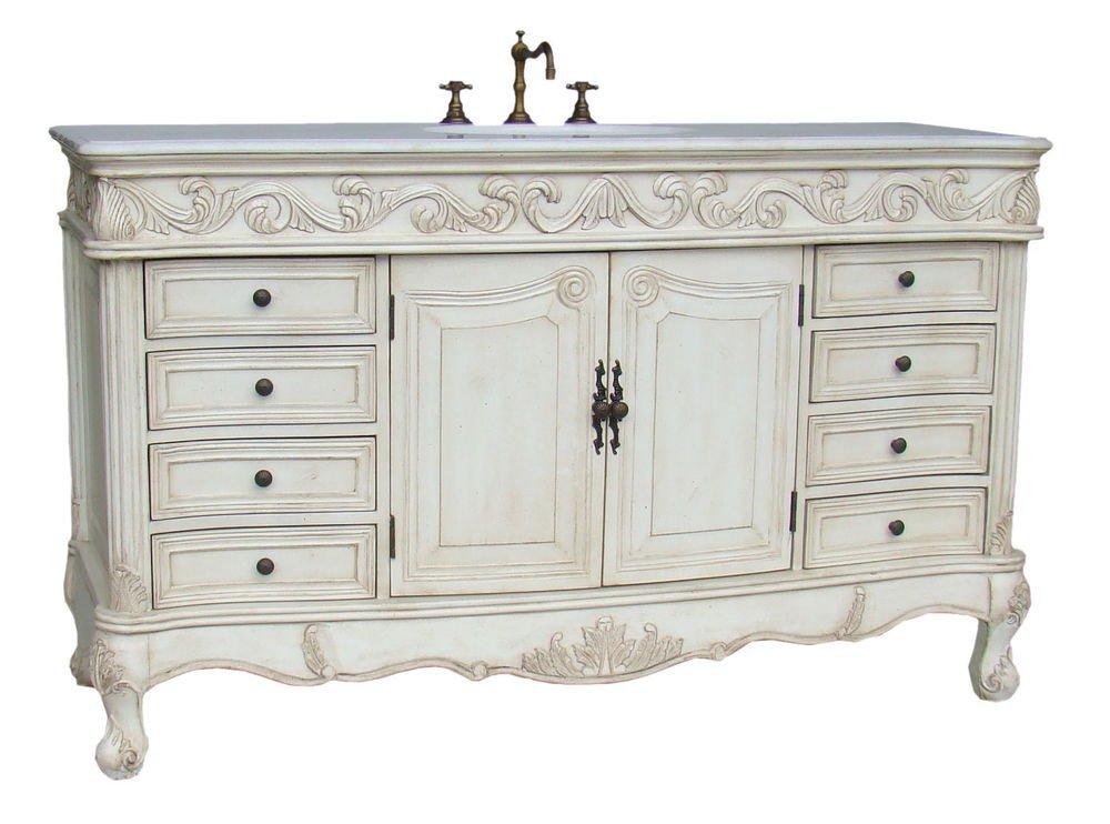 60 Whitewash Stained Bathroom Vanity Sink Cream Marble