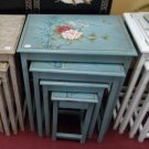 Chinese light green wood flowers and birds nest of table set of 4 stack tables