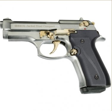 Jackal Compact Full Automatic Blank Firing Gun Chrome - Gold Finish