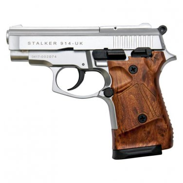 Stalker 914 Silver Finish With Wood Grips - 9mm Blank Firing Zoraki Gun
