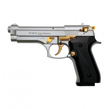 V92F Nickel with Gold Fittings - Blank Firing Replica Gun