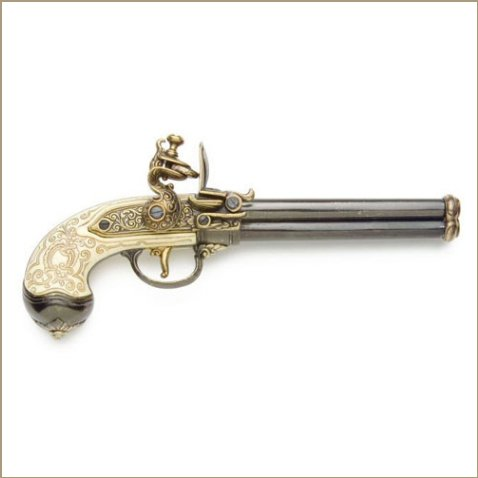 Colonial Brass Italian 3 Barrel Flintlock Pistol Non-Firing Replica