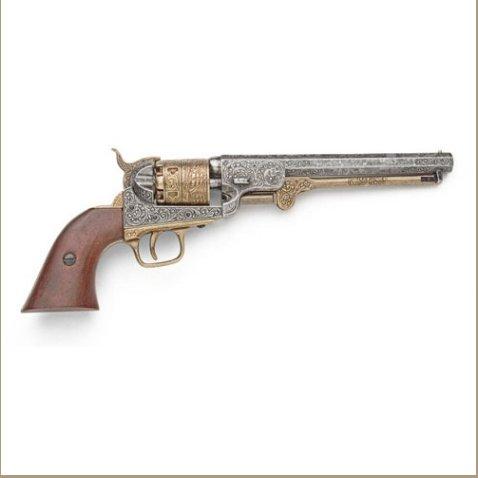 Civil War M1851 Engraved Gold & Nickel Replica Navy Pistol Non-Firing Replica