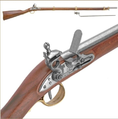 Colonial Replica Charleville Rifle With Bayonet Non-Firing Gun