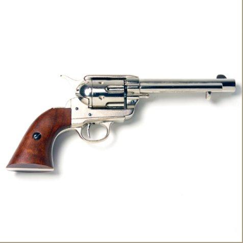 Old West Frontier Replica Nickel Revolver Non-Firing Gun