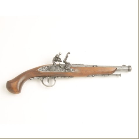 Colonial Replica 18TH Century Engraved Flintlock Pistol Non-Firing Gun