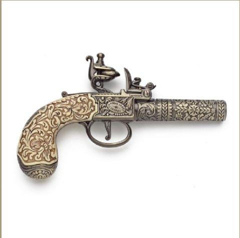 Colonial Replica 18TH Century Ornate Flintlock Pistol Non-Firing Gun