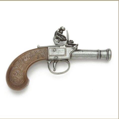 Replica Colonial Gray Finish Pocket Flintlock Pistol Non-Firing Gun