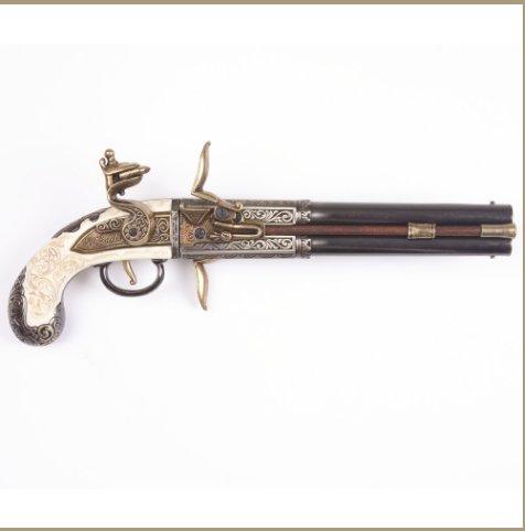 Replica Colonial Engraved Double Barrel Flintlock Non-Firing Gun