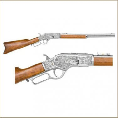 Old West M1873 Engraved Silver Trim Replica Rifle Non-Firing Gun