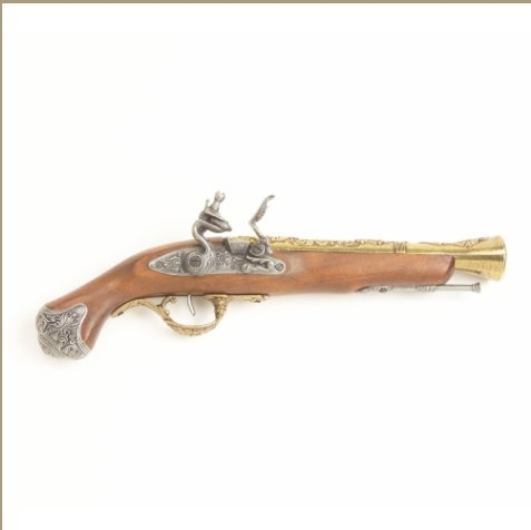 Replica 18TH Century Antique Brass Trim English Flintlock Non-Firing Replica