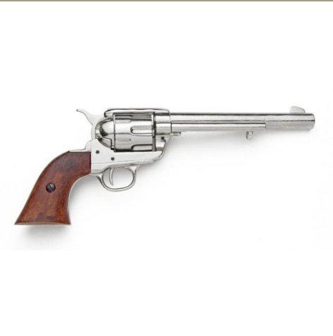 Old West Replica M1873 Nickel Finish Cavalry Single Action Revolver Non-Firing Gun
