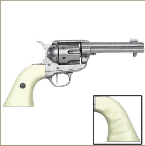 Old West Replica M1873 Antique Finish Draw Revolver, Auburn Finger Grooved Grips Non-Firing Gun