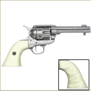 Old West Replica M1873 Antique Finish Draw Revolver, Auburn Finger Grooved Grips Non-Firing Gun