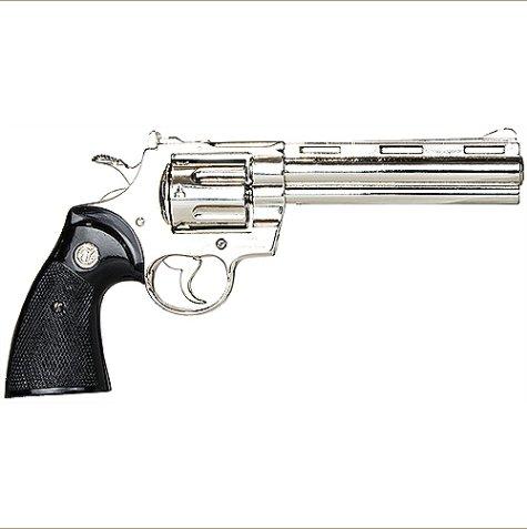 Zombie Killer Replica Nickel .357 Police Magnum 6 Barrel Non-Firing Gun