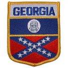 Old Georgia Confederate  Flag Shield Patch
