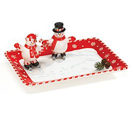Peppermint Snowman Platter with Salt & Pepper Shakers