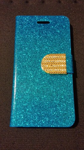 Iphone 6 Blue Bling Diamond Leather Case
