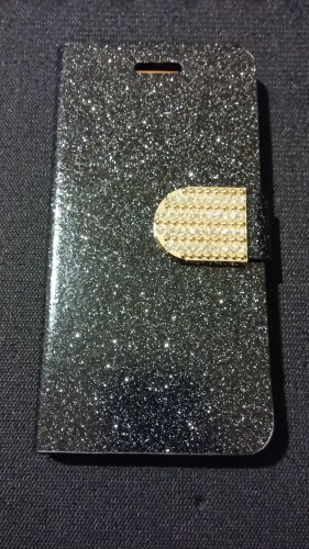 Iphone 6 Black Bling Diamond Leather Case