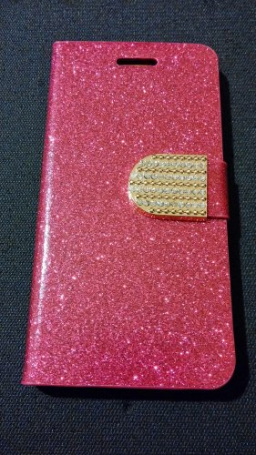Iphone 6 Hot Pink Bling Diamond Leather Case