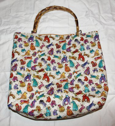 Bamboo Handle Dog Print Tote
