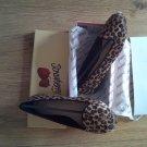 BRAND NEW IN BOX LEOPARD SKIN DESIGNER flat sole/ballerinas shoe (SIZE5)