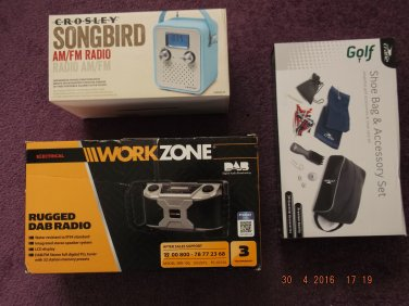 VINTAGE RADIOS & GOLF KIT of EXCESS PURCHASE AND UNWANTED GIFT SALE LOT 27