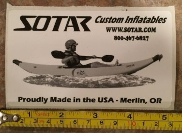 "5"" SOTAR Whitewater Sticker Decal Black Kayak Canoe SUP Surf Whitewater Rafting"
