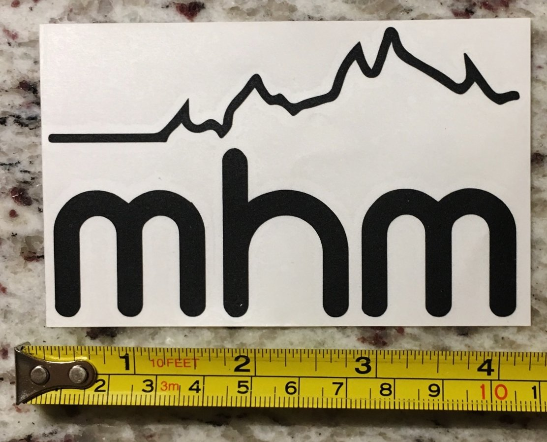 "4"" Mile High Mountaineering Backpacks Sticker Decal Black Hiking Climbing Colorado Logo"