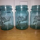 3 pieces of pint size blue BALL perfect mason jars. From 1923-1933