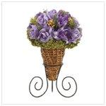 Lavender rose bouquet in rattan cone