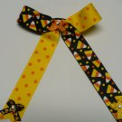 Halloween Candy Corn Cheer Hair Bow with Streamers (Item no. 00020)