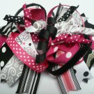 Black and Pink with Bunnies and Korker Twiddles Hair Bow (Item no. 00052)